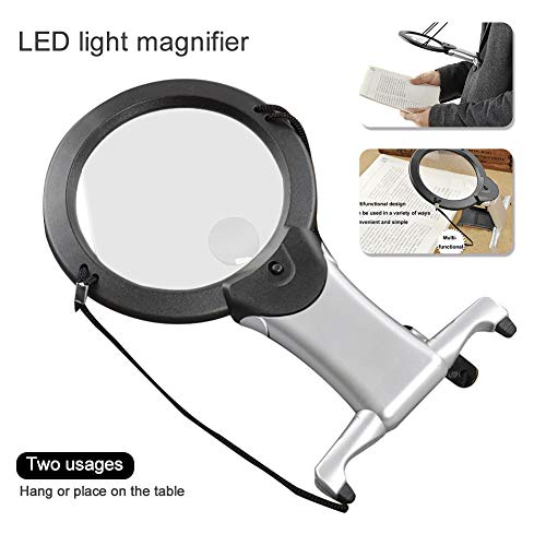 (dezirZJjx Magnifying Glass, Beileshi 2X 6X LED Light Magnifier Neck Hanging Reading Magnifying Glass)