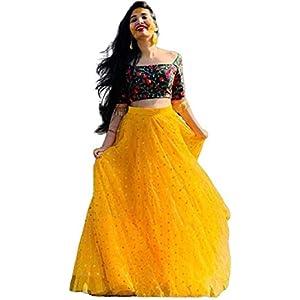 KRISHNA PRIYA Women's Net Semi-stitched Lehenga Choli with Blouse Piece (KRISHNA PRIYA YELLOW_Yellow & Green_Free Size)