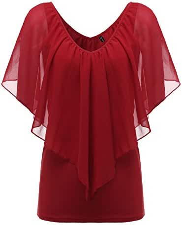 ZANZEA Women's Summer Chiffon V Neck Off Shoulder Short Sleeve Shirts Tops