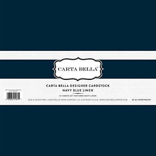 Carta Bella Paper Company Navy Blue Linen Cardstock, 80 (Paper Company Cardstock)