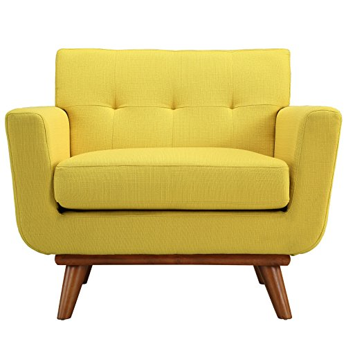Sunny Yellow Armchair with Tapered Cherry Legs