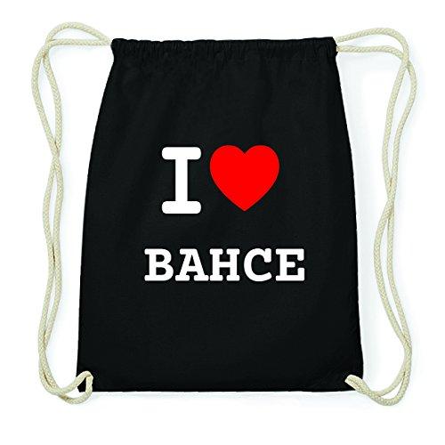 JOllify BAHCE Hipster Turnbeutel Tasche Rucksack aus Baumwolle - Farbe: schwarz Design: I love- Ich liebe mUMDWp