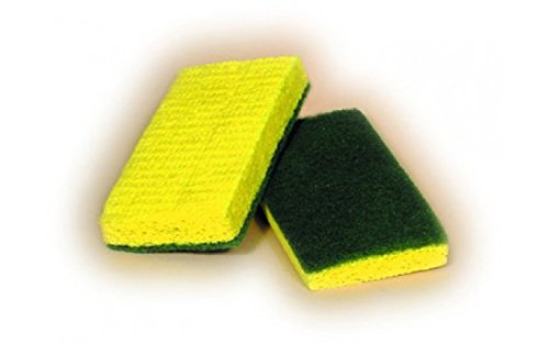 ACS Industries 74-612 Medium Duty Green Backed Yellow Cellulose Scrubber Sponge, Antimicrobial, UL Approved, Individual Wrapped, 6'' x 3 3/8'' x 3/4'' (Pack of 20)