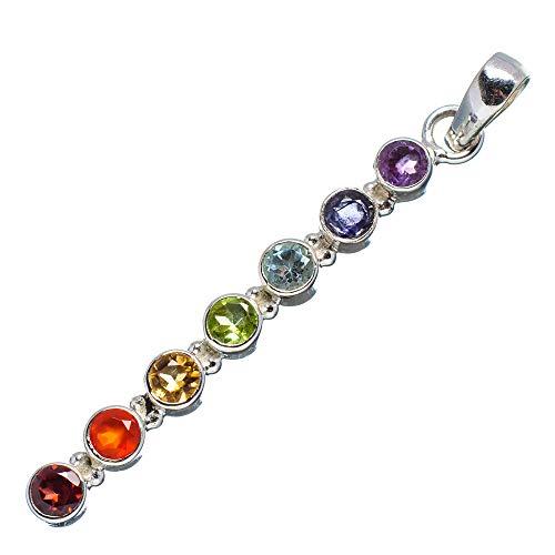 "Multi-Stone Rainbow Chakra Pendant 2 1/8"" (925 Sterling Silver) - Handmade Boho Vintage Jewelry PD671935 from Ana Silver"
