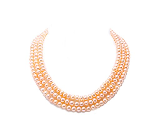 JYX 3-row Three Strand Pearls 6-7mm Near-round Pink Freshwater Cultured Pearl Necklace