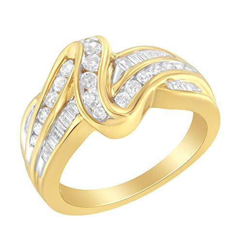 14K Yellow Gold Round and Baguette-Cut Diamond Ring (3/4 cttw, I-J Color, I1-I2 Clarity)