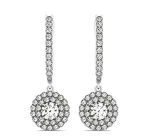 Redonda Colgante Diamantes 3.00Quilates Pendientes de aro oro blanco 14K
