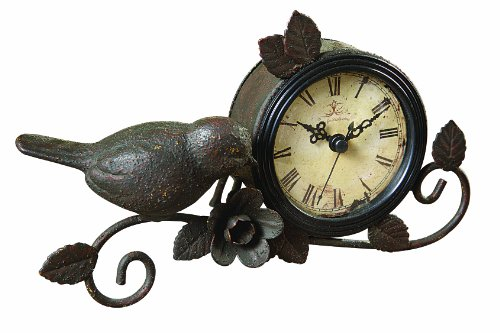 Creative Co-op Shabby Cottage Chic Metal Bird Desk Clock Home Decor