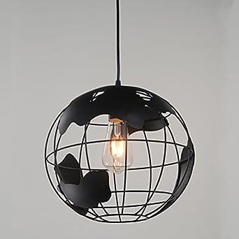 RH RUIVAST Industrial Earth Shape Globe Map Pendant Light Edison Ceiling L& FCC Certified Vintage Style Wrought Iron Chandelier Lighting Modern Creative ... & RH RUIVAST Industrial Earth Shape Globe Map Pendant Light Edison ...