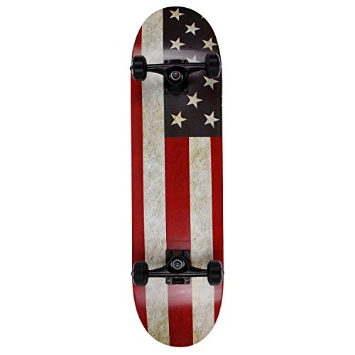 Flag Skateboard Deck - NPET Pro Skateboard Complete 31 Inch 7 Layer Canadian Maple Double Kick Concave Deck Skating Skateboard (American Flag)