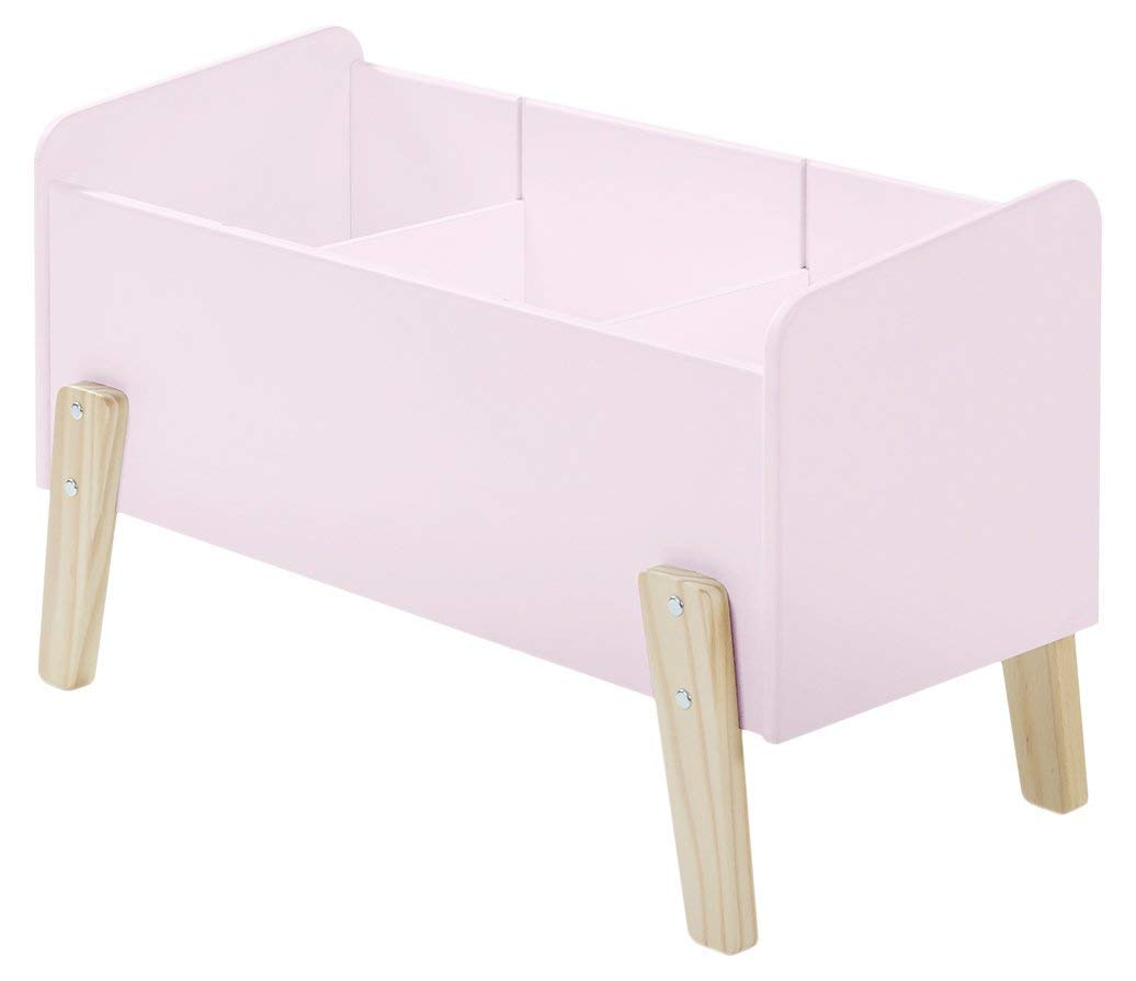 Vipack Kiddy Spielkiste mit 3 Fächern, Holzwerkstoff, hellgrau, 80 x 39 x 48 cm Rosa