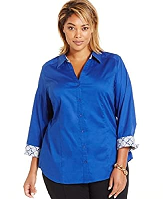 Ny Collection Plus Size Printed-Cuff Shirt