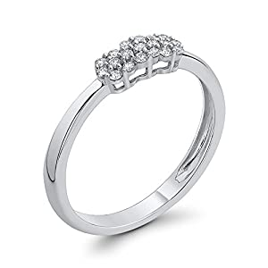 Diamond Fashion Ring in 10K White Gold (1/6 cttw, Colour GH, Clarity I2-I3) (Size-13)