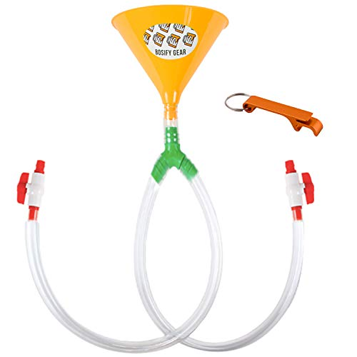 BOSIFY, 30 INCH Beer Bong Funnel with Leak-Proof Valve - Long Extra Thick Kink-Free Tube for UNRESTRICTED Flow with Extra Wide 8 INCH Funnel Yellow