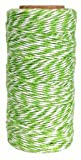 Just Artifacts ECO Bakers Twine 240yd 4Ply Striped Green Apple - Decorative Bakers Twine for DIY Crafts and Gift Wrapping
