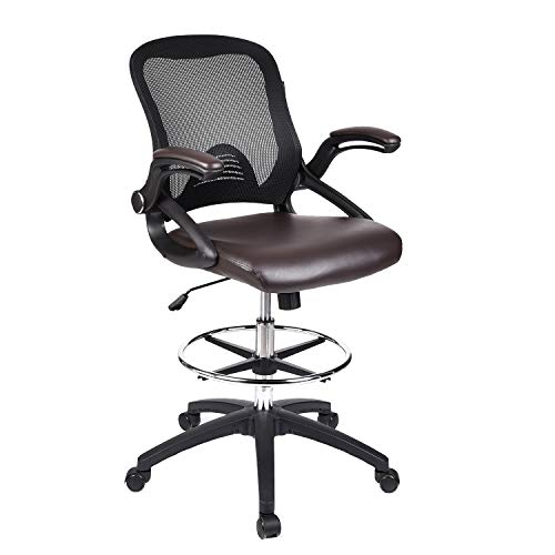 Office Swivel Drafting Desk Chair – Tall Task Chair Adjustable Height with Flip-Up Arm Reception Desk Chair with Back for Office Home Thick Padded Leather Seat Heavey Duty Base Chorme Plated Footrest