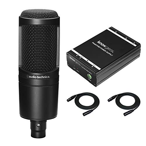 (Audio-Technica AT2020 Cardioid Condenser Studio Microphone with Knox Gear Portable Phantom Power Supply and 2 XLR Cables)