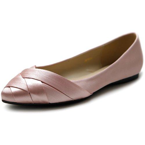 Ollio Women's Shoe Ballet Weave Pointed Toe Dress Flat (10 B(M) US, Dark Pink)