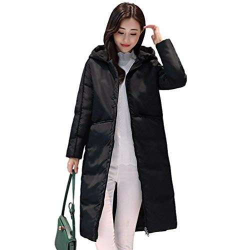 Con Hooded Zipper Saoye Piumino Clothes Overcoat Long Quilted Schwarz Sleeve Ladies Coat Tasche Colori Solidi Inverno Fashion Autunno vvZqwF