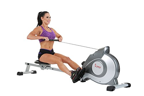 Stamina Cardio Magnetic Rowing Exercise Equipment Machines- Perfect Home Workout Fitness- Eight Level Resistance Settings Grip Right Handles Slip Proof Foot Pedal- Portable Wheels LCD Display Settings