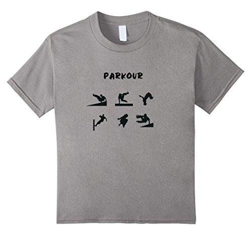 Kids Parkour Shirt, Parkour Moves & Stunts Tee 10 Slate