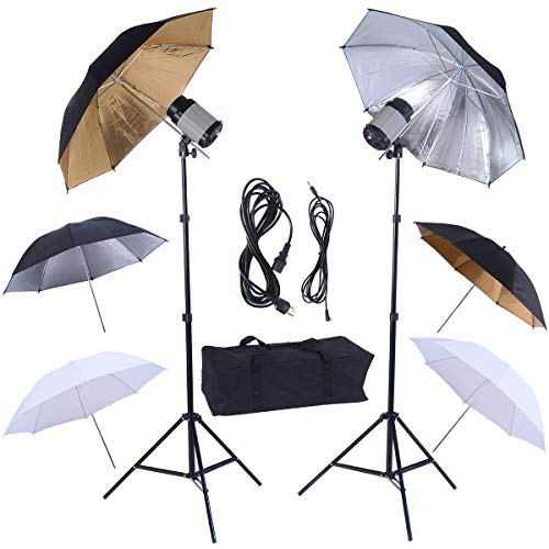 Safstar Photography Photo Studio 320W Monolights Strobe Flash Light Umbrella Lighting Kit - 2 x 160W Studio Flash/Strobe/Speedlite, 2 x Lighting Stands, 6 x 33 Umbrellas, 1x Heavy Duty Carrying Case ()