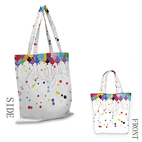 AbstractShopping bag is easy to carryBunch of Various Colored Balloon Flying in the Air with Circles Party Kids ThemeFull color shopping bag W15.75 x L17.71 Inch Multicolor