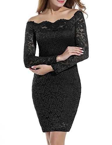 ACEVOG Women's Off Shoulder Elegant Floral Lace Cocktail Party Dress Plus Size Black M