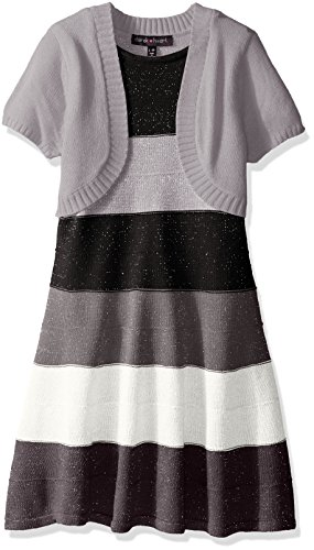 Derek Heart Big Girls' Ombre Marled Metallic Skater Dress, Black Combo, Medium (10-12)
