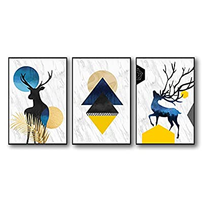 Abstract Nordic Geometric Deer - 3 Panel Framed Canvas