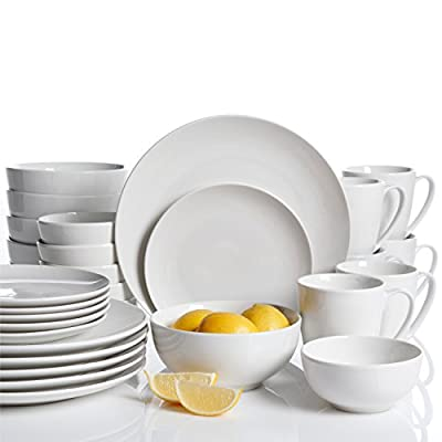 Gibson Home 92889.30RM Ogalla 30 Piece Dinnerware Set, White - Ogalla 30 pc Dinnerware Set Dishwasher and microwave safe Coupe Shape - kitchen-tabletop, kitchen-dining-room, dinnerware-sets - 41O9Bo6gM9L. SS400  -