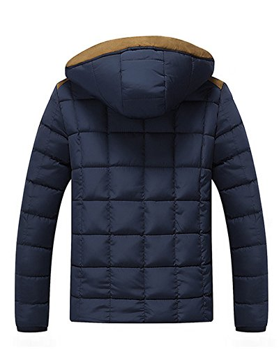 invierno azul Chaqueta de para Hombre LaoZan Capucha con Abrigo acolchada wv1wYCnq