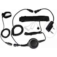 FANVERIM 2 Pin Heavy Duty PTT Throat OR Forehead Vibration MIC for KENWOOD Radios PUXING WOUXUN HYT TYT BAOFENG UV5R 888S