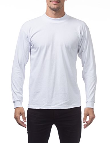 Pro Club Men's Mock Turtleneck Long Sleeve Tee, Large, Snow (Cotton Mock Neck Mens T-shirt)
