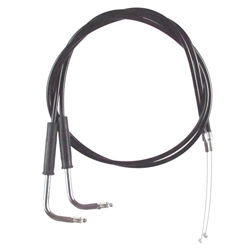 Black Vinyl Coated Throttle Cable set for 1996-2001 Harley-Davidson FLHT/C & FLHTCU models without Cruise - HC-0406-0237-EGA by Hill Country Custom Cycles