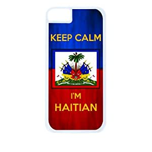 """Haiti Flag-""""Keep Calm, I'm Haitian""""- Case for the Apple iphone 6 4.7 Universal-Hard White Plastic Outer Shell with Inner Soft Black Rubber Lining"""