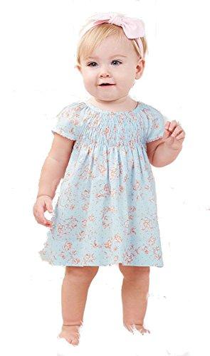 Blue Smocked Dress (Mud Pie Blue Rose Smocked Dress (0-3 Months))