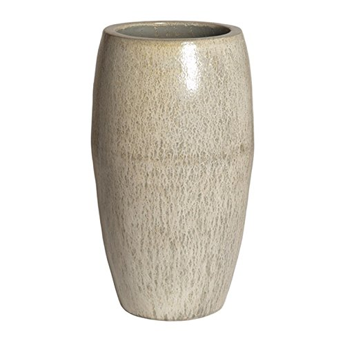 Tall Round Ceramic Planter - White Speckle Glaze by Emissary