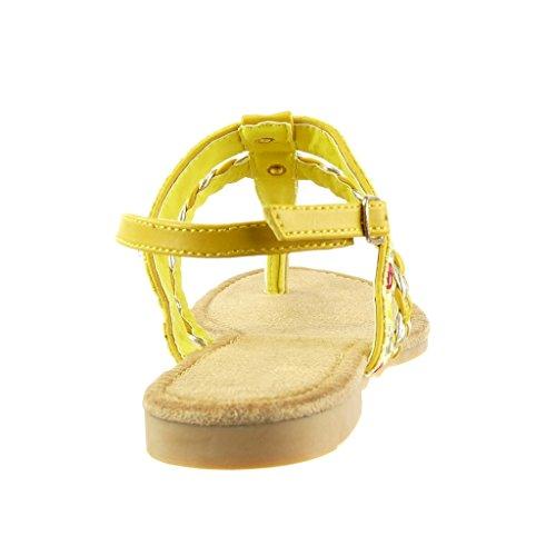 Chanclas Amarillez Zapatillas correa Bordado Cm Tacón Multi Mujer 5 Sandalias 1 Talón Trenzado Ancho Angkorly Moda fwqpRtBt1