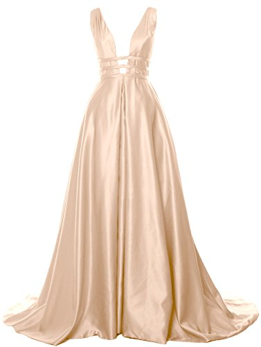 MACloth Deep V Neck Maxi Prom Ball Gown Open Back Satin Formal Evening Dress Bellini
