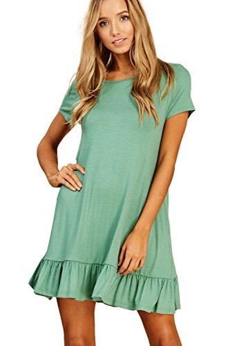 Ruffle Hem Dress (Annabelle Women's Plus Size Round Neck Ruffled Hem Short Sleeve Mini Dress with Side Pockets Sage XX-Large D5420)