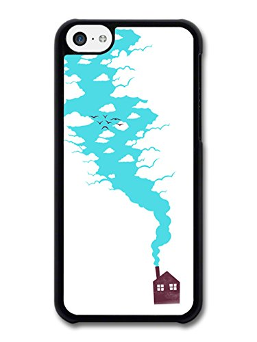 New Minimalist House with Clouds and Birds case for iPhone 5C
