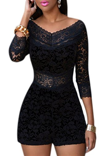 Dokotoo Womens Chic Lace Overlay Off-shoulder V-Neck Party Romper Large Black