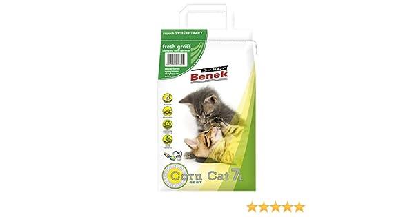 Super Benek Arena de maíz Natural para Gatos con Aroma a Hierba Fresca, 42 L, antibacteriana, desechable e hipoalergénica, con Control de Olor, fórmula Desodorante combinada con 4 Bolas de Juguete: Amazon.es:
