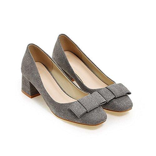 VogueZone009 Damen Ziehen auf Quadratisch Zehe Mittler Absatz Rein Pumps Schuhe Dunkelgrau