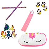 Unicorn Pencil Case Bundled with a Set of 2 Pencils, 5 Stickers, 1 Ruler and 4 Erasers, Gift Set or School Supplies for Girls