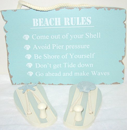 (Beach Rules Sign and a Pair of Flip Flop Sandals Wall Hooks 3 Piece Bundle)