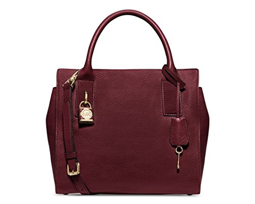 Michael Kors Merlot Leather Mckenna Medium Satchel Bag