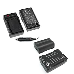 Lithium-Ion Battery & Charger with Car Adapter for Olympus Digital SLR EVOLT E-500