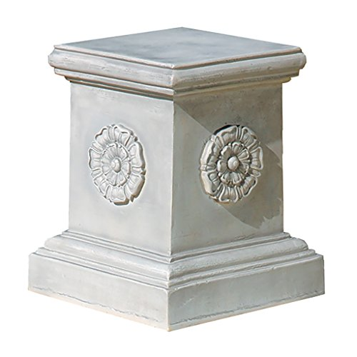 Design Toscano English Rosette Sculptural Garden Plinth Base Riser, Large 13 Inch, Polyresin, Antique Stone ()